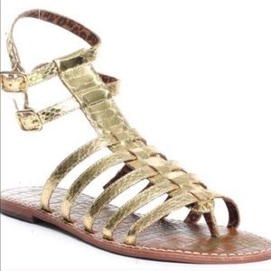 Sam Edelman Gold Gladiator Ankle Sandals 6.5